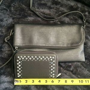 Pewter cross body bag with matching wallet